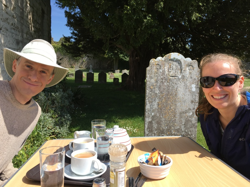 Nat & Nicole lunching in parish church cemetery inside Portchester Castle near Portsmouth