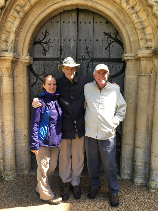 Nat and Nicole with me, in front of medieval village church in Burford, gateway to the Cotswolds