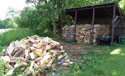 A week or so ago, I was only 2/3 of the way through stacking wood.